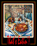 Crawfish Painting Posters - Thats Eatin  Poster by Dianne Parks