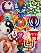 Religions Paintings - The 12 World Religions by Sister Rebecca Shinas