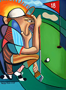 Sports Art Mixed Media Framed Prints - The 18TH Hole Framed Print by Anthony Falbo