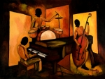Bass Painting Prints - The 1st Jazz Trio Print by Larry Martin
