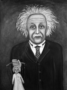 Puppet Paintings - The 2 Einsteins BW by Leah Saulnier The Painting Maniac