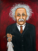 Mustache Painting Prints - The 2 Einsteins Print by Leah Saulnier The Painting Maniac
