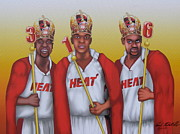 Dwyane Wade Art Digital Art Posters - The 3 NBA Kings Poster by David Pedemonte