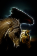 Brown Tones Photos - The 3 Shadow Horses by Steve McKinzie