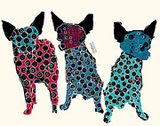 Chihuahua Colorful Art Prints - The 3 Tenors Print by Brian Buckley