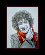 4th Drawings Prints - The 4th Doctor Tom Baker Print by Jenny Campbell Brewer
