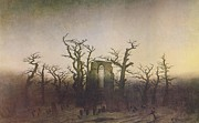 Moody Paintings - The Abbey in the Oakwood by Caspar David Friedrich