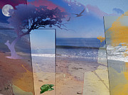 Horizon Mixed Media Framed Prints - The Abstract Beach Framed Print by Bedros Awak