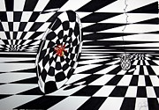 Op Art Drawings Posters - The Abyss Poster by Jasmine San Juan