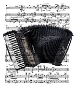 Music Score Digital Art Posters - The Accordion Poster by Ron Davidson