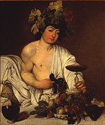Vino Framed Prints - The Adolescent Bacchus Framed Print by Caravaggio