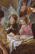 Nativity Painting Posters - The Adoration Poster by Le Nain