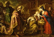 Nativity Paintings - The Adoration of the Magi by Orazio de Ferrari