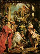Shepherds Framed Prints - The Adoration of the Magi Framed Print by Peter Paul Rubens