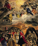 Souls Painting Prints - The Adoration of the Name of Jesus Print by El Greco Domenico Theotocopuli
