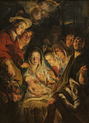 Winter Scene Paintings - The Adoration of the Shepherds by Anonymous