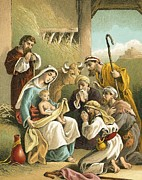 Winter Scene Paintings - The Adoration of the Shepherds by English School