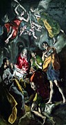 Virgin Mary Framed Prints - The Adoration of the Shepherds from the Santo Domingo el Antiguo Altarpiece Framed Print by El Greco Domenico Theotocopuli