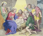 Father Christmas Prints - The Adoration of the Shepherds Print by German School