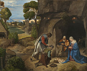 Worshipping Framed Prints - The Adoration of the Shepherds Framed Print by Giorgio da Castelfranco Giorgione