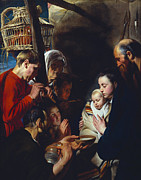Child Jesus Paintings - The Adoration of the Shepherds by Jacob Jordaens