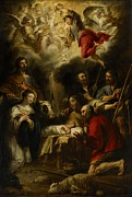 Christmas Cards Painting Prints - The Adoration of the Shepherds Print by Jan Cossiers