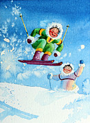 Skiing Art Metal Prints - The Aerial Skier - 10 Metal Print by Hanne Lore Koehler