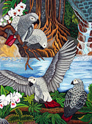 Parrot Tapestries - Textiles Metal Prints - The African Grey Parrots hand embroidery Metal Print by To-Tam Gerwe
