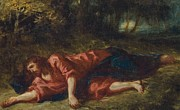 Suffering Painting Framed Prints - The Agony in the Garden Framed Print by Ferdinand Victor Eugene Delacroix