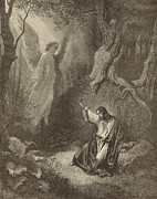 Bible Drawings Prints - The Agony in the Garden Print by Antique Engravings