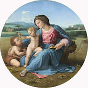 Crucifix Painting Prints - The Alba Madonna Print by Raffaello Sanzio of Urbino