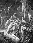 Black Bird Drawings Prints - The albatross being fed by the sailors on the the ship marooned in the frozen seas of Antartica Print by Gustave Dore
