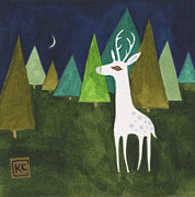 Wildlife Landscape Drawings - The Albino Deer by Kate Cosgrove