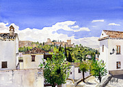 Margaret Merry Prints - The Alhambra from the Albaicin Print by Margaret Merry