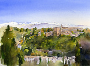 Margaret Merry Framed Prints - The Alhambra Granada Framed Print by Margaret Merry