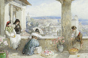Flower Basket Posters - The Alhambra Granada Spain Poster by Myles Birket Foster