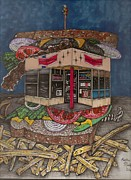 Richie Montgomery Drawings - The All Star Sandwich Bar by Richie Montgomery