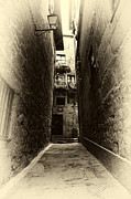 Historic Center Framed Prints - The Alley Framed Print by John Rizzuto
