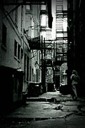 Chicago Black White Posters - The Alleyway Poster by Michelle Calkins