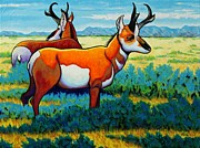 Landscape With Mountains Framed Prints - The Alliance Pronghorn Framed Print by Joe  Triano