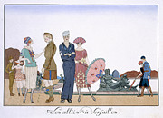 Couples Painting Prints - The Allies in Versailles Print by Georges Barbier