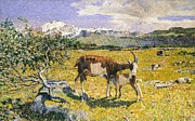 Wild Animals Paintings - The Alps in May by Giovanni Segantini