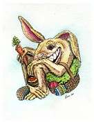 Bunny Paintings - The Altered Easter Bunny by Tonie Cook