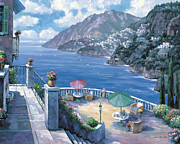 Pallet Knife Painting Posters - The Amalfi Coast Poster by John Zaccheo