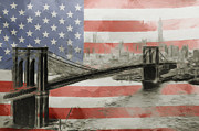 Us Flag Mixed Media Prints - The American Dream Print by Stefan Kuhn