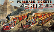 Vintage Posters Prints - The American Railway Scene  Print by Currier and Ives