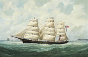 Famous Artists - The American ship Olive S Southard of San Francisco in French waters off Le Havre by Edouard Adam