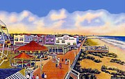 Amusement Parks Paintings - The Amusement Area At Myrtle Beach S C Around 1940 by Dwight Goss