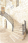 France Doors Framed Prints - The Ancient Stone Staircase Framed Print by Heiko Koehrer-Wagner