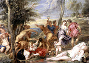 Wine Party Framed Prints - The Andrians a free copy after Titian Framed Print by Peter Paul Rubens